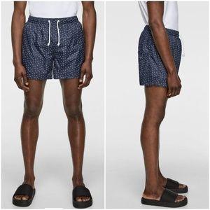 Zara navy contrasting arrow print swim shorts